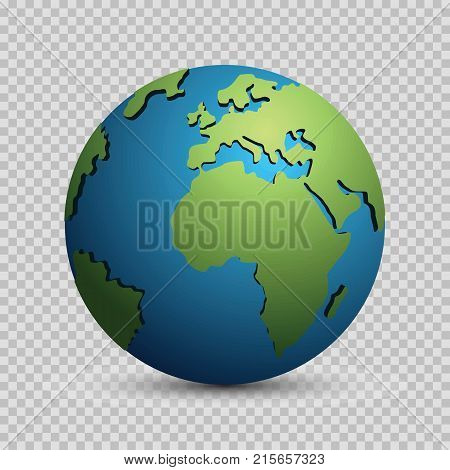 Modern 3d world globe model concept isolated on transparent background. World planet vector earth sphere vector illustration for busines and science design