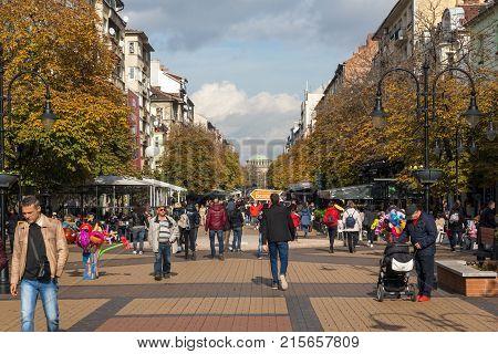 SOFIA, BULGARIA -NOVEMBER 12, 2017: Walking people on Boulevard Vitosha in city of Sofia, Bulgaria