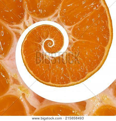 Isolated on white orange slice spiral swirl abstract fractal background. Orange slice spiral background pattern. Impossible abstract orange food fractal background. Surreal orange mandarin fruit swirl abstract fractal