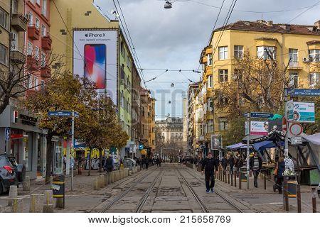 SOFIA, BULGARIA -NOVEMBER 12, 2017: Walking people on Graf Ignatiev street in city of Sofia, Bulgaria