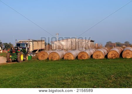 Hay Bales And Truck