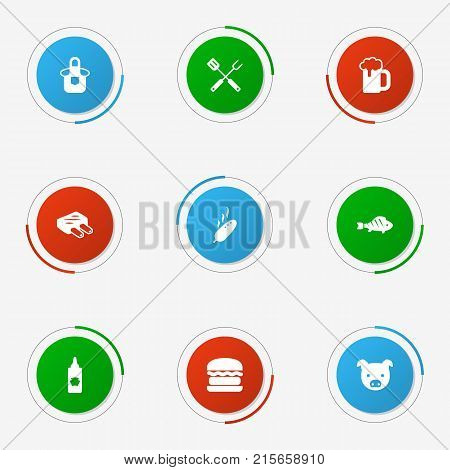 Collection Of Drumstick, Ketchup Bottle, Equipment And Other Elements.  Set Of 9 Bbq Icons Set.
