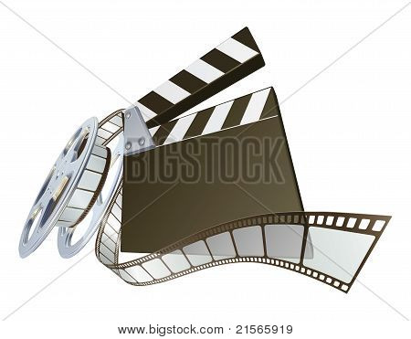 Film Clapperboard And Movie Film Reel