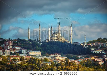 Istanbul Camlica Mosque or Camlica Tepesi Camii under construction. Camlica Mosque is the largest mosque in Asia Minor. Istanbul Turkey