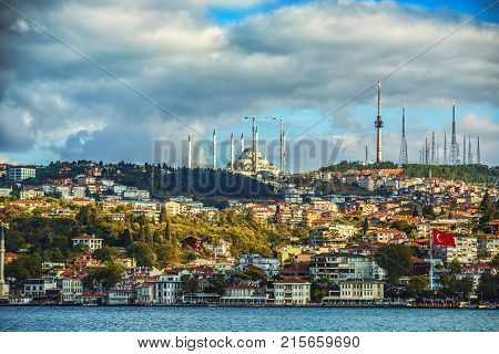 Istanbul Asian side of Istanbul with Camlica Mosque on a top of the hill. Camlica Mosque is the largest mosque in Asia Minor. Istanbul Turkey