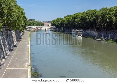 ROME, ITALY - JUNE 22, 2017: Amazing Panoramic view of Tiber River in city of Rome, Italy