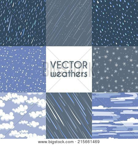 Different types of rainfall. Autumn rainy, snow and other seamless pattern collection. Rain and snow weathers, rainy pattern illustration
