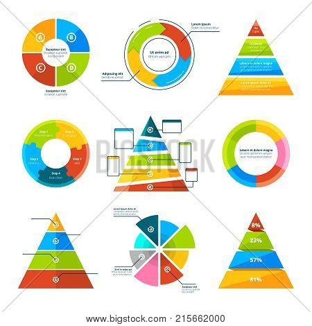 Triangles, pyramids and round elements for infographics. Pyramid triangle infographic, presentation diagram and chart. Vector illustration