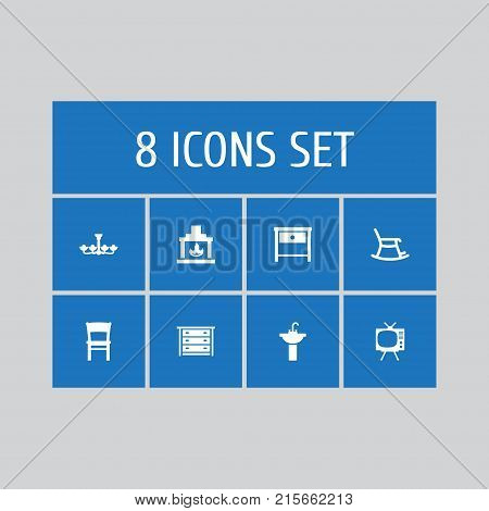 Collection Of Stool, Luster, Commode And Other Elements.  Set Of 8 Situation Icons Set.