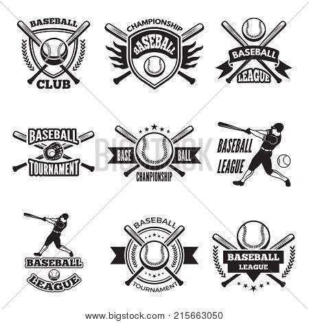 Monochrome labels or emblem for baseball club. Vector badges isolate on white. Baseball club logo, illustration of championship label