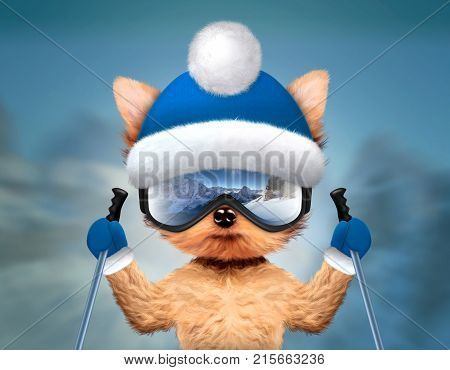 Funny Dog wearing ski goggles with reflection of mountains and holding ski sticks. New Year and Christmas concept. Realistic 3D illustration.