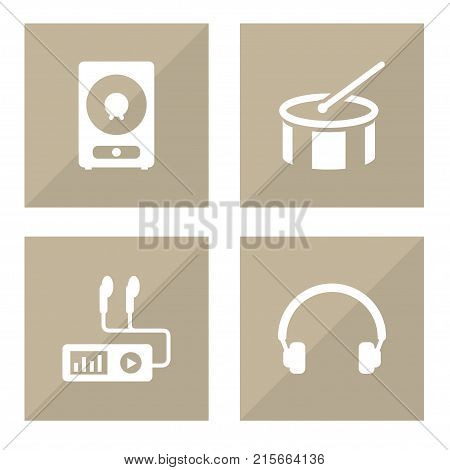 Collection Of Earphones, Audio Device, Amplifier And Other Elements.  Set Of 4 Song Icons Set.