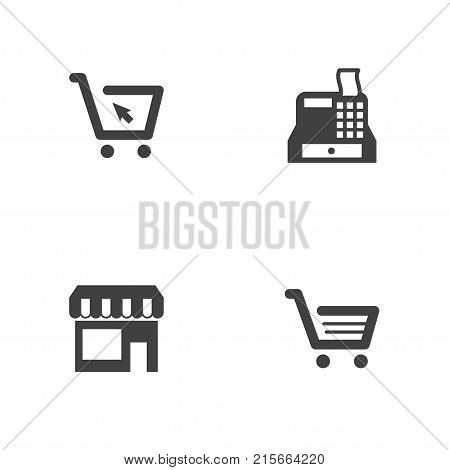 Collection Of Till, Cart, Market And Other Elements.  Set Of 4 Magazine Icons Set.