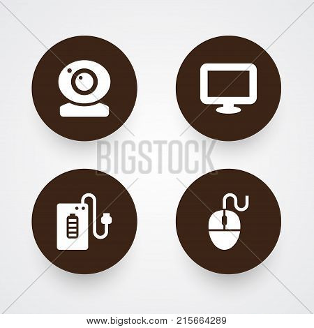 Collection Of Supply, Control Device, Record And Other Elements.  Set Of 4 Notebook Icons Set.