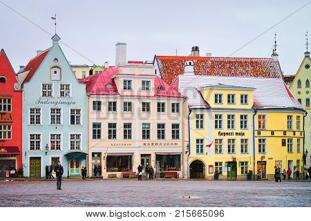 Tallinn Estonia - February 27 2017: People on Town Hall Square in the Old town Tallinn Estonia in winter