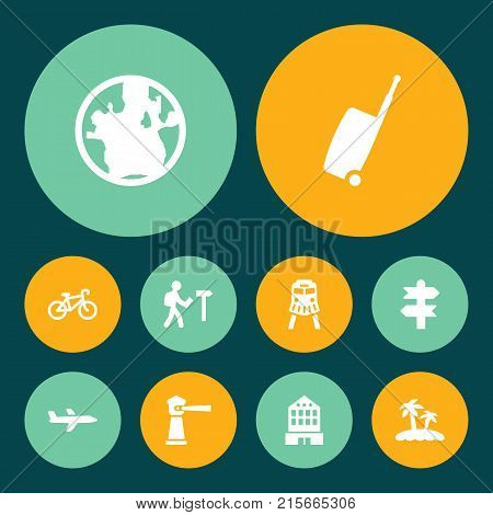 Collection Of Aircraft, Seamark, Planet And Other Elements.  Set Of 10 Relax Icons Set.