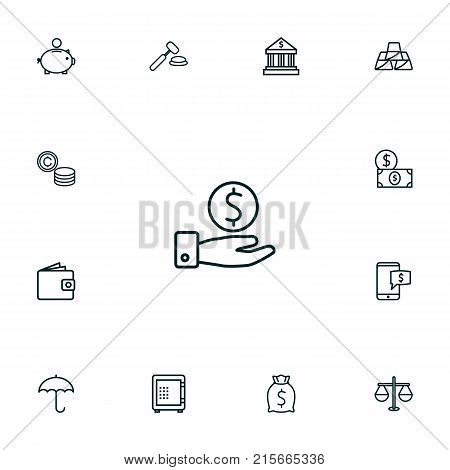 Collection Of Golden Bars, Electron Payment, Wallet And Other Elements.  Set Of 13 Budget Outline Icons Set.