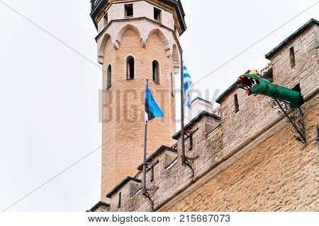 Dragon gargoyles of Town Hall of the Old city of Tallinn Estonia in winter