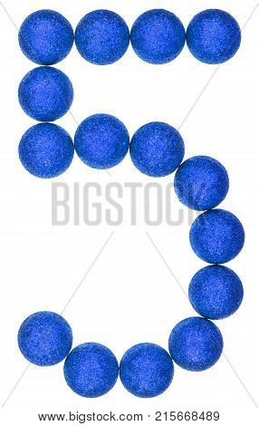 Numeral 5, Five, From Decorative Balls, Isolated On White Background