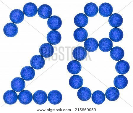 Numeral 28, Twenty Eight, From Decorative Balls, Isolated On White Background