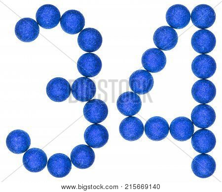 Numeral 34, Thirty Four, From Decorative Balls, Isolated On White Background