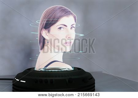 a holo projector projects a pretty young woman (3d mixed media)