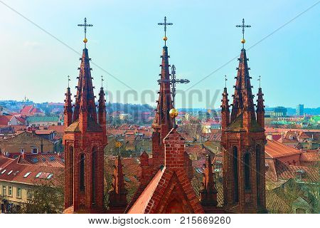Steeples of Church of St Anne and cityscape in the Old city of Vilnius Lithuania.