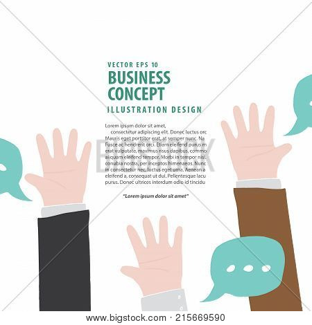 Banner Hands Up Of Businessman Meaning Vote Or Asking Or Answering Or Agreement On White Background
