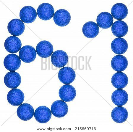 Numeral 61, Sixty One, From Decorative Balls, Isolated On White Background