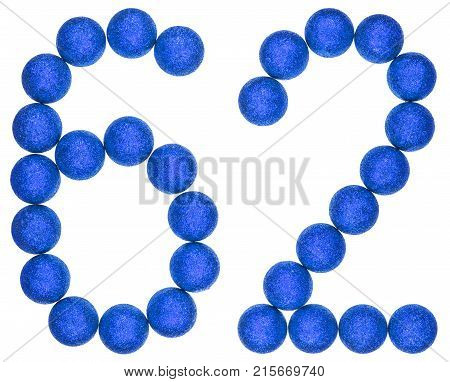 Numeral 62, Sixty Two, From Decorative Balls, Isolated On White Background