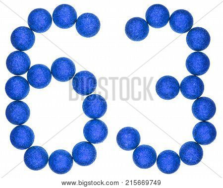 Numeral 63, Sixty Three, From Decorative Balls, Isolated On White Background
