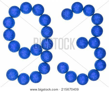 Numeral 93, Ninety Three,  From Decorative Balls, Isolated On White Background