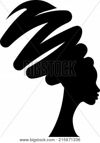 portrait beautiful African woman in traditional turban, black women vector silhouette isolated , hairstyle concept