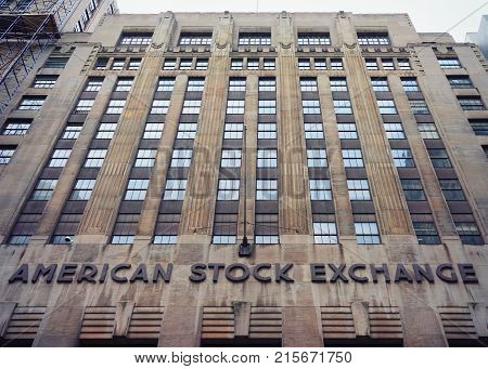 New York USA - May 5 2015: Stock Exchange on Wall Street in Lower Manhattan New York USA