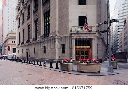 New York USA - May 5 2015: New York Stock Exchange on Wall Street in Lower Manhattan NYC USA