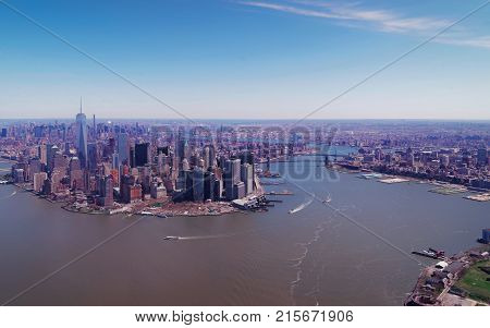 Aerial view on Manhattan and Hudson River and East River NYC New York USA