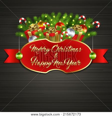 Christmas card with gift boxes with gold ribbon bow, garland, Christmas tree balls, candy sticks, branches of Christmas tree behind red label with greeting text of Merry Christmas and Happy New Year