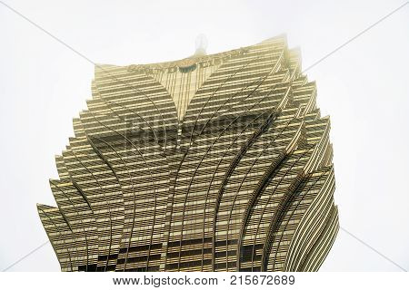 Macao China - March 8 2016: Grand Lisboa Hotel Skyscraper in Macao