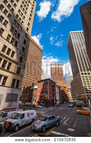 New York USA - April 24 2015: Intersection of Water Street and Broad Street in Financial District in Lower Manhattan New York City NYC USA.