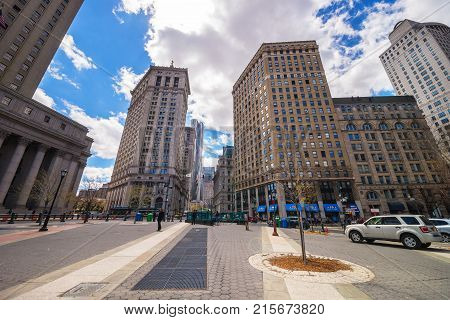 New York USA - April 24 2015: Centre Street view in Civic Center in Lower Manhattan New York City NYC USA. Tourists in the street