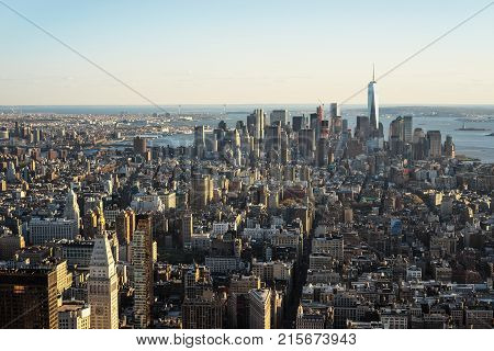 New York USA - April 25 2015: Aerial view from Observatory deck of the Empire State Building to Downtown Manhattan and Lower Manhattan New York NYC USA