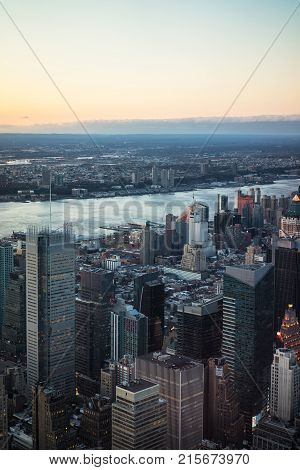 New York USA - April 25 2015: Aerial view from Observatory deck in the Empire State Building on Midtown Manhattan of New York NYC USA. Hudson river and New Jersey on the background.