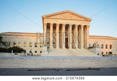 Washington DC USA - May 3 2015: United States Supreme Court Building is located in Washington D.C. US. It is seat of tSupreme Court. It was built in 1935. Architect of building was Cass Gilbert.