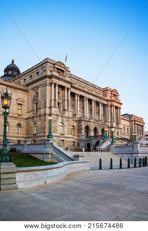 Washington USA - May 3 2015: Library of Congress is located in Washington D.C. US. It is a research library which serves for the US Congress and considers to be the National US library.