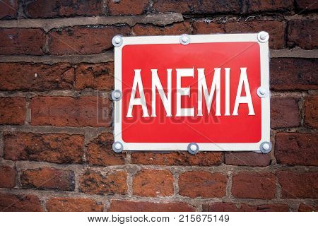 Hand Writing Text Caption Inspiration Showing Anemia Concept Meaning Medical Diagnosis Iron Deficien