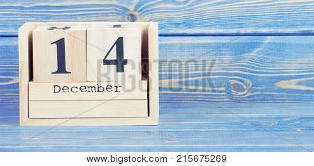 Vintage Photo, December 14Th. Date Of 14 December On Wooden Cube Calendar