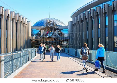 Druskininkai Lithuania - May 1 2017: People at the entrance into aqua park in Druskininkai Lithuania. People on the background