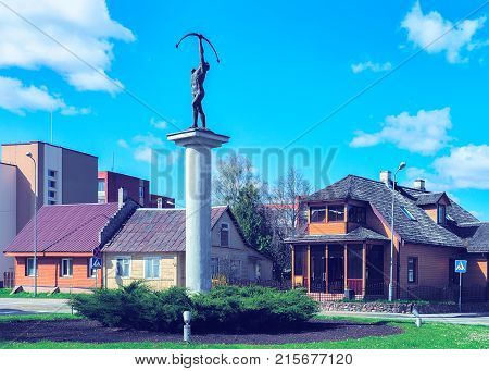 Druskininkai Lithuania - May 1 2017: Archer sculpture at the crossroads with rotary motion in Druskininkai in Lithuania.
