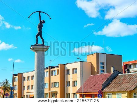Druskininkai Lithuania - May 1 2017: Archer sculpture at the crossroads with rotary motion Druskininkai Lithuania.