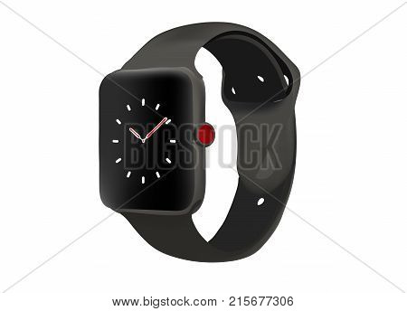 Vector realistic illustration of smart electronic watch. Illustration for bussiness, for infografic, for icons. Smart watch with time on screen.